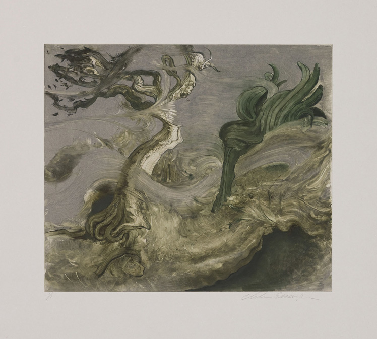 Tree in the Wind, 2010, Painted monotype printed from a steel matrix, Image size: 12 x 14 inches
