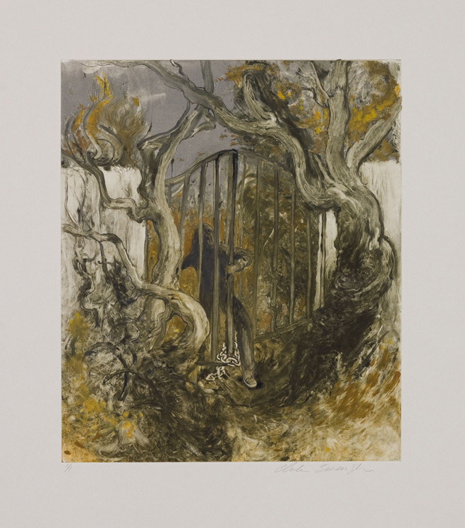 The Gate, 2010, Painted monotype printed from a steel matrix, Image size: 14 x 12 inches