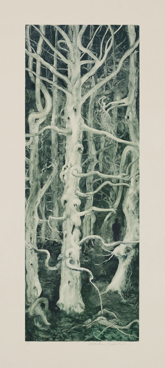 Spruce, 2010, Painted monotype printed from a steel matrix, Image size: 27 1/2 x 10 inches
