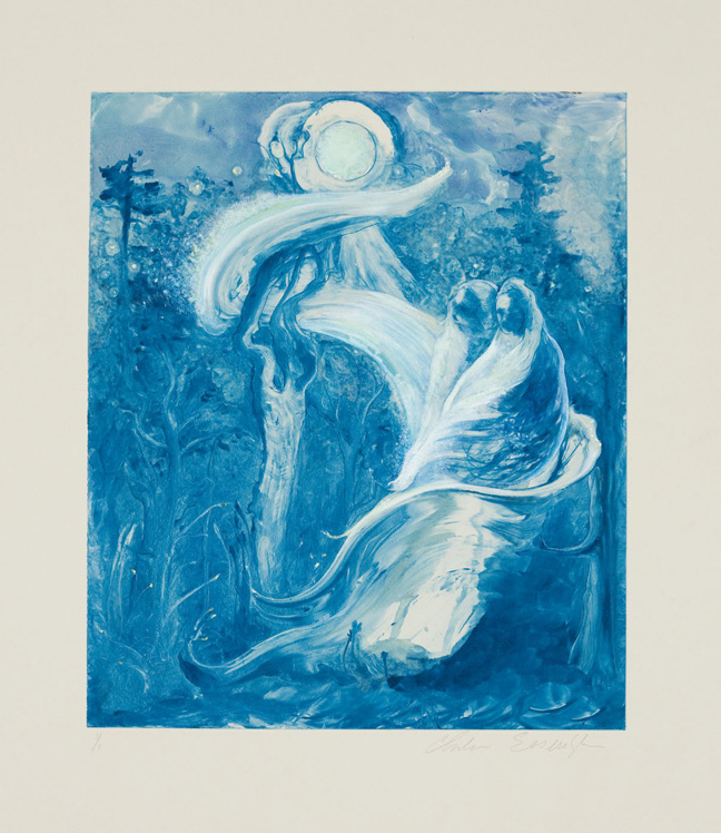 Moon Creatures, 2010, painted monotype printed from a steel matrix, Image size: 13 3/4 x 11 3/4 inches