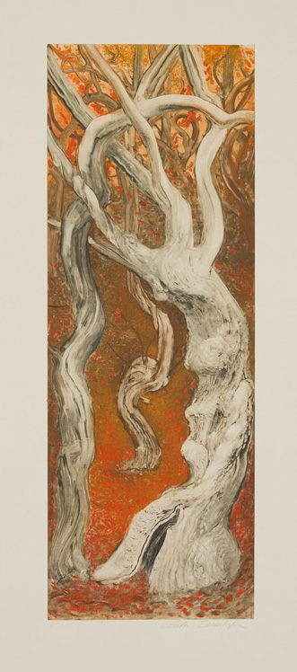 Fallen Trees, 2010, Painted monotype printed from a steel matrix, Image size: 27 1/2 x 10 inches