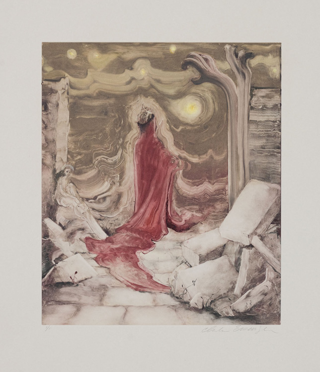 Ghost King, 2010, Painted monotype printed from a steel matrix, Image size: 14 x 12 inches