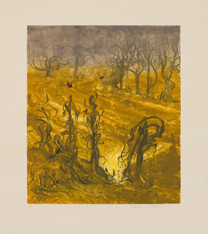 Corn Field, 2010, Painted monotype printed from a steel matrix, Image size: 14 x 12 inches