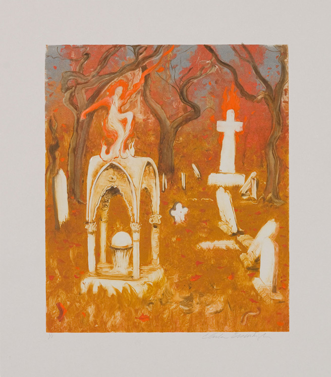 Cemetery, 2010, Painted monotype printed from a steel matrix, Image size: 14 x 12 inches