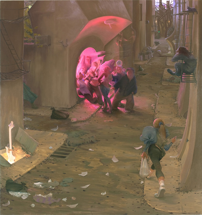 Lower East Side, 2009, oil on canvas, 70 x 74 inches