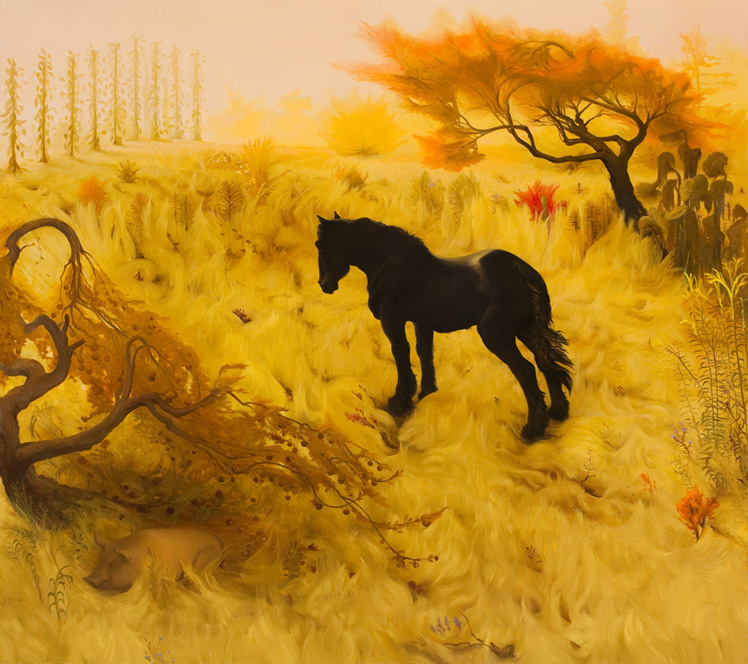 Molly Waiting in a Field, 2009 , oil on canvas, 72 x 64 inches