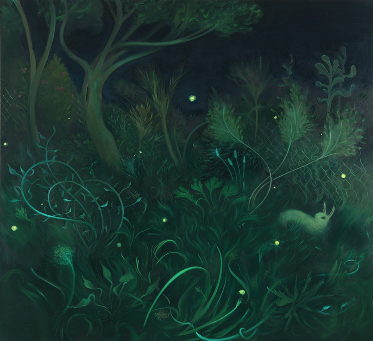 The Grass at Night in July, 2006, oil on canvas, 42 x 46 inches