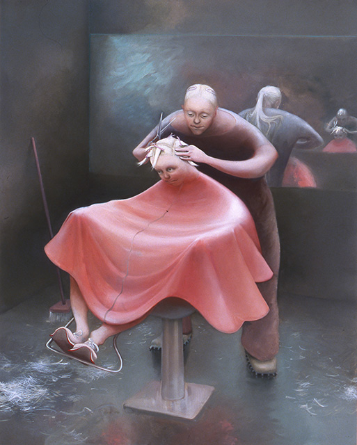 Haircut, 2005, oil on linen, 60 x 48 inches
