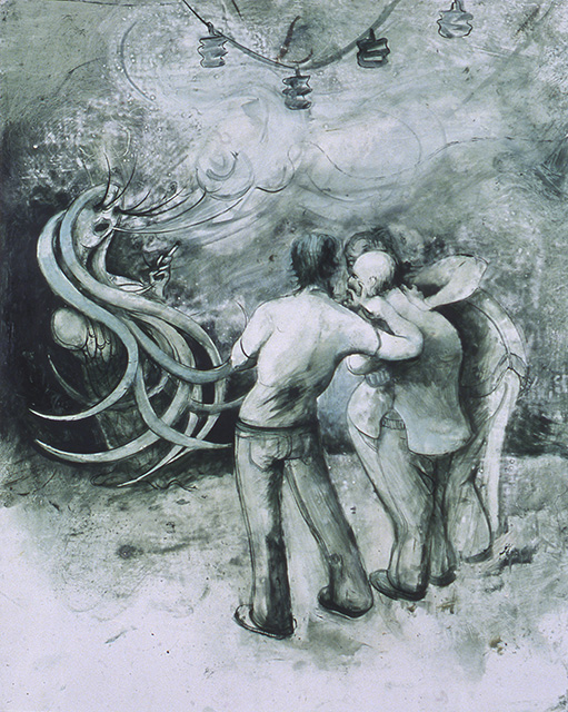 Three Men and One Woman, 2005, Oil on paper, 22 3//8 x 18 inches