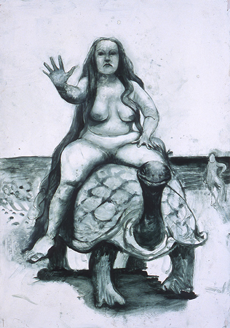 Nude Riding Turtle, 2005, Oil on paper, 20 x 14 1/8 inches