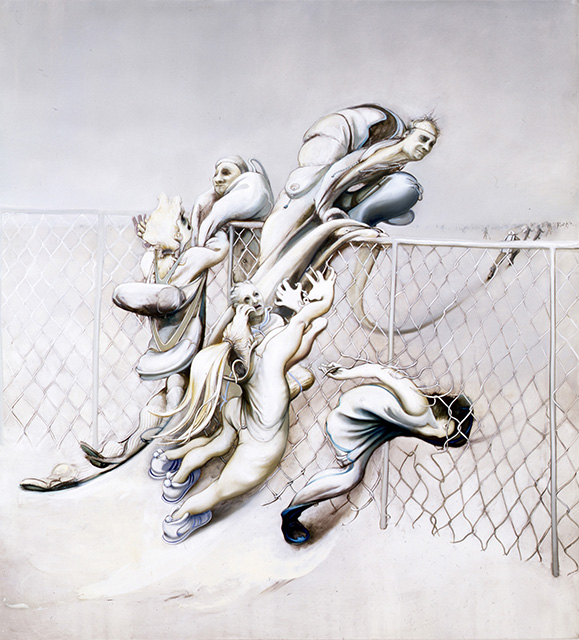 Chainlink Fence, 2004, oil on canvas, 76 x 70 inches