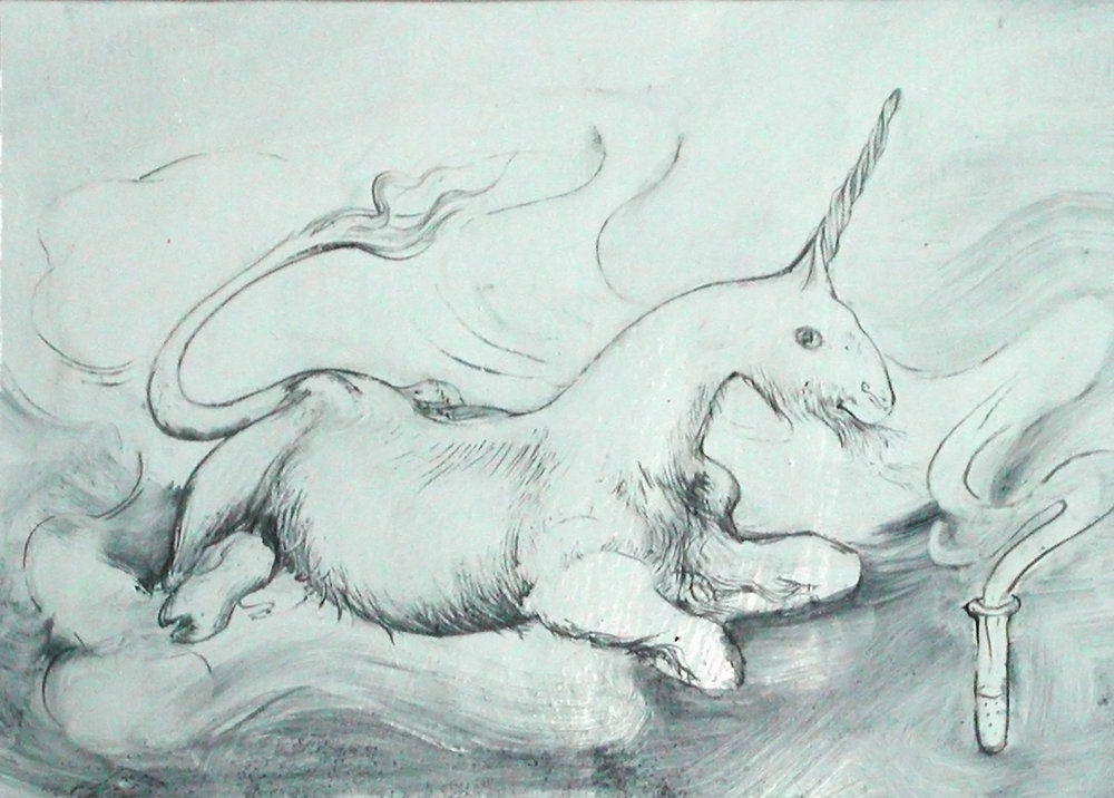 Genetically Engineered Unicorn, 2004, oil on paper, 5 x 7 inches