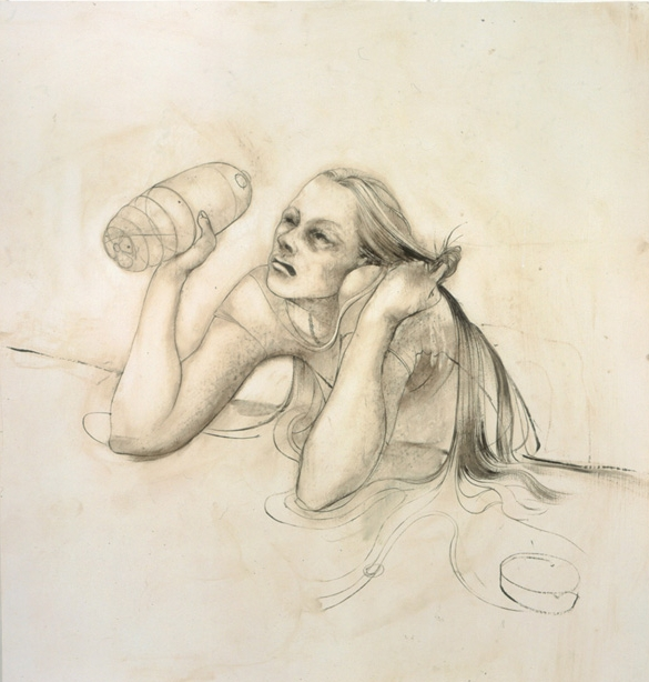 Girl with Haunched Shoulders, 2004, Oil on paper, 16 1/2 x 15 1/2 inches