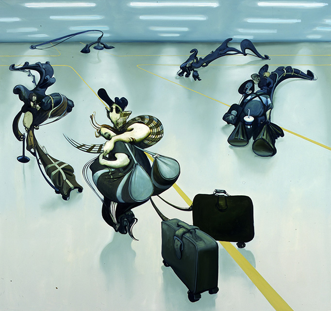 Airport Painting, 2003, oil on canvas, 70 x 74 inches