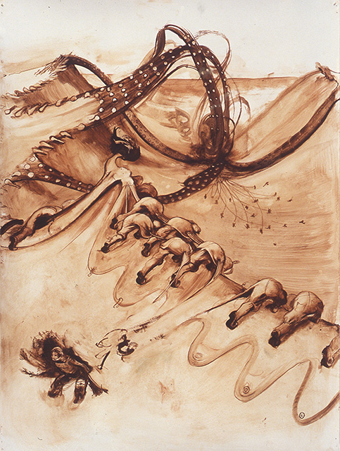 War Drawing, 2003, oil on paper, 24 x 18 inches