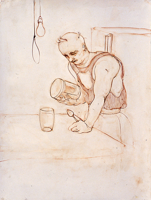 "From the series ""People That Do Weird Things To Their Bodies"": Man With Protein Drink, oil on paper"