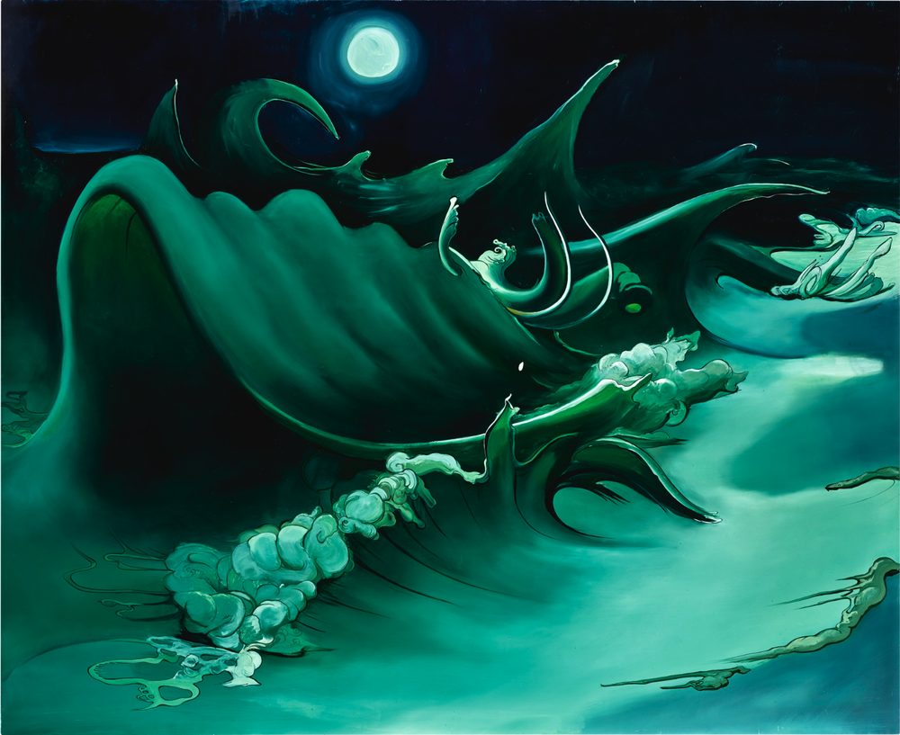 Waves at Midnight, 2002, oil on panel, 54 x 64 inches