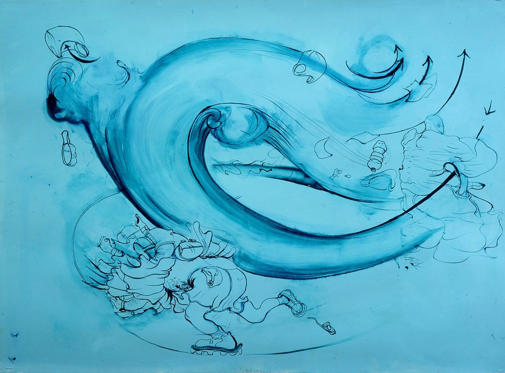 Untitled (Blue Gust of Wind) 2002, oil on paper, 22 x 30 inches