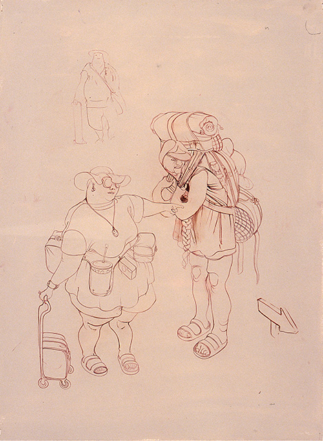 2 Different Types of Tourist, 2002, oil on paper, 30 x 22 inches