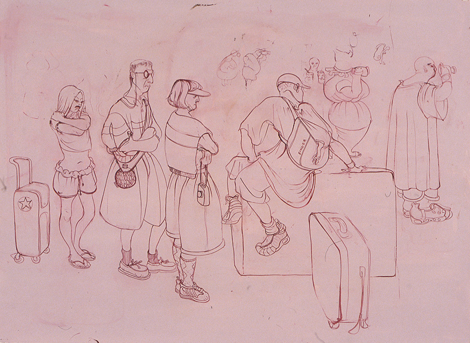 Family of Tourists in Line, 2002, oil on paper, 22 x 30 inches