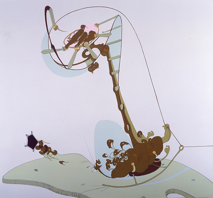 Thieves, 2000, Enamel on canvas, 86 x 92 inches