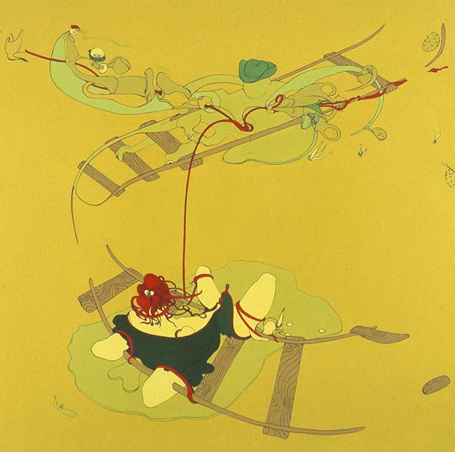 Bad men, 2000, Enamel on canvas, 48 x 48 inches