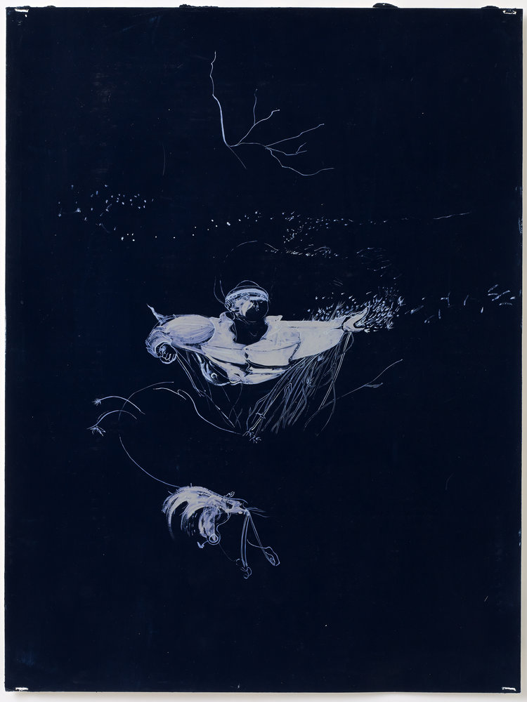Untitled (White on Black), 2000, oil on paper, 30 x 24 IN
