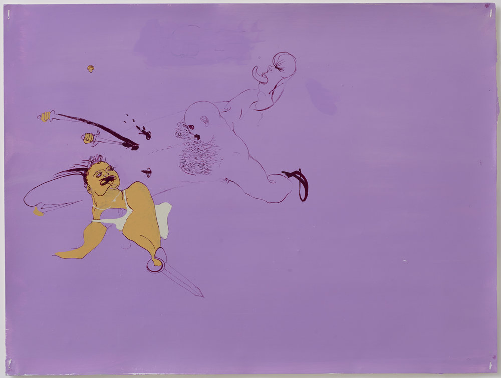 Untitled (Purple background) 2000, oil on paper, 15 x 25 IN