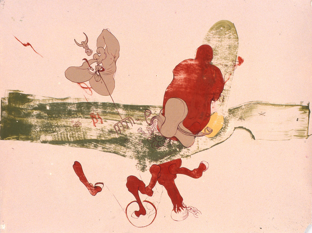 Untitled (Pink background with red horse and devil with green grass) 2000, oil on paper, 15 x 25 IN