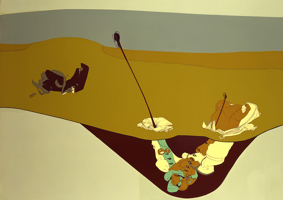 Car Crash, 1999, Enamel on canvas, 50 x 70 inches