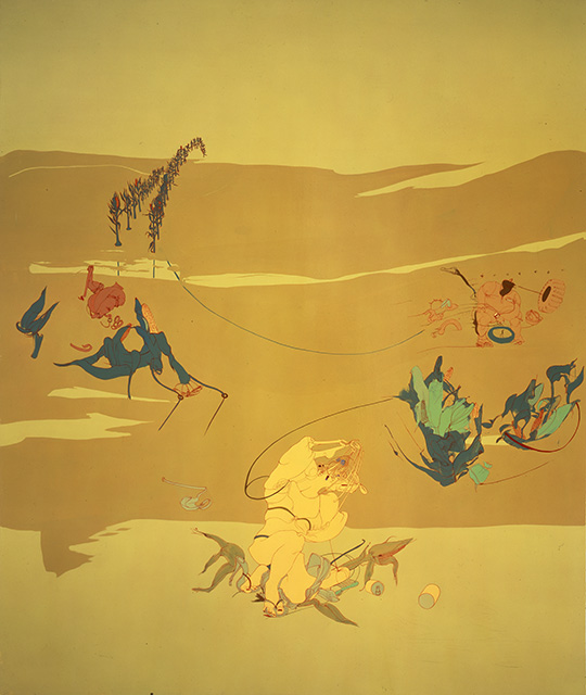 Goody, 1999, Enamel on canvas, 90 x 76 inches