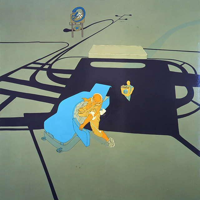 Mall Parking Lot, 1999, Enamel on canvas, 72 x 72 inches