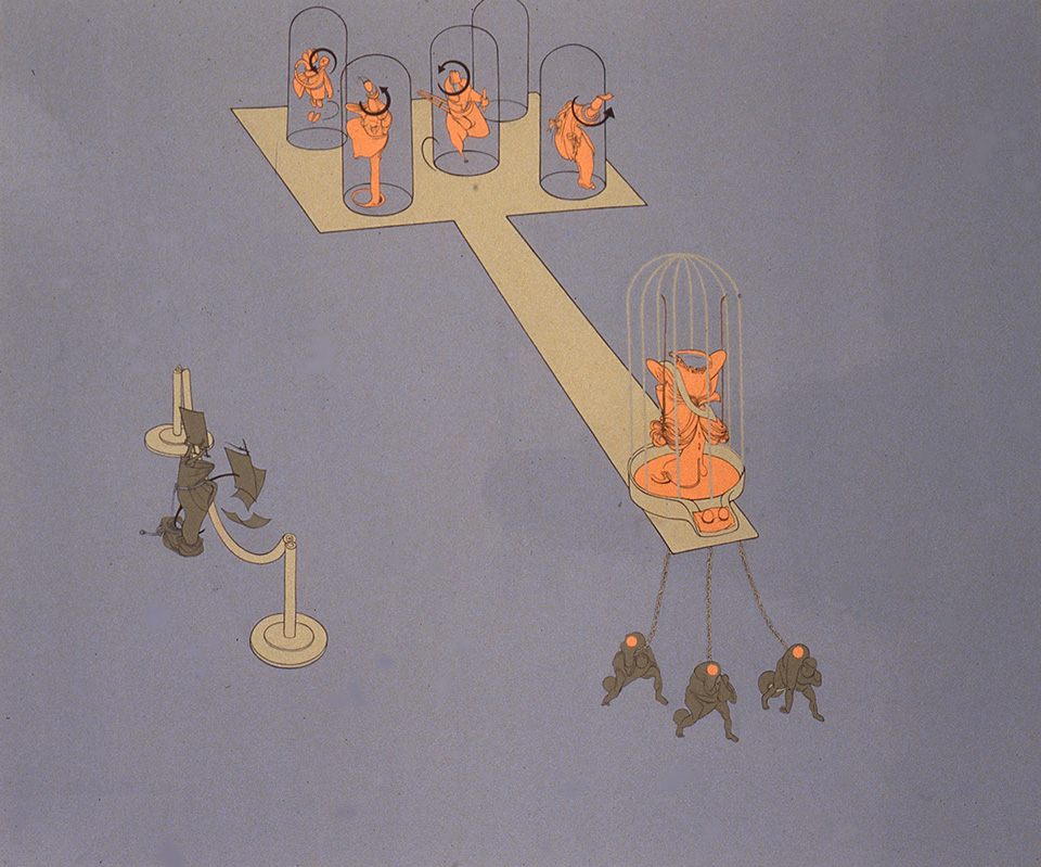 Beauty Pagent, 1998, Enamel on canvas 60 x 72 inches