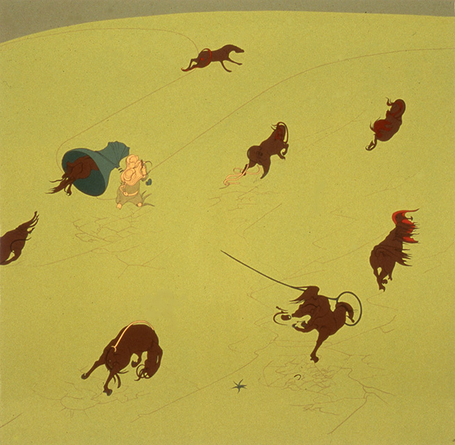 End of the World, 1998, Enamel on canvas 74 x 76 inches