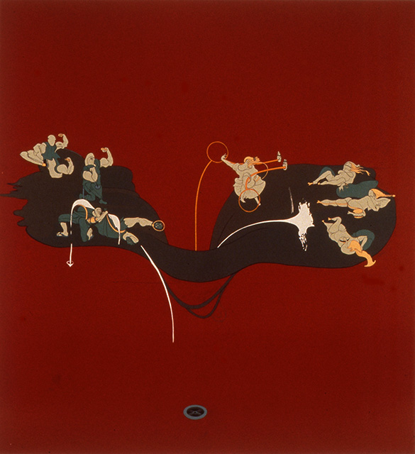 Virgin and Volcano, 1998, Enamel on canvas, 78 x 72 inches
