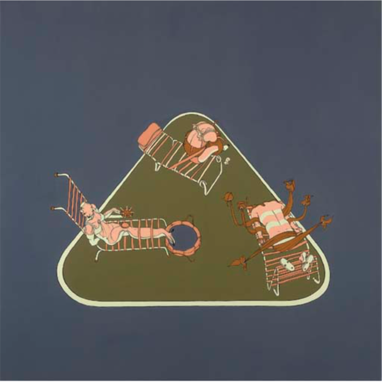 Sunbathers, 1998, Oil and enamel on canvas, 50 x 50 IN