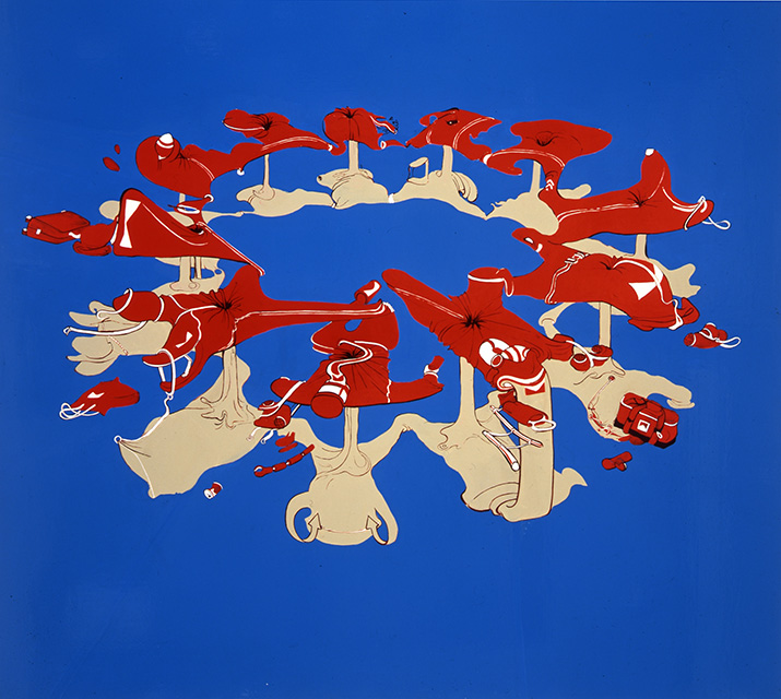 Mass Suicide from Special Forces, 1997, Enamel on canvas, 54 x 60 inches
