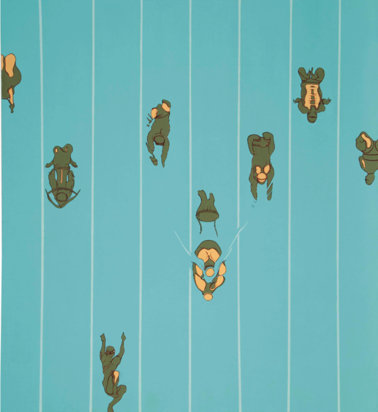 Swimmers, 1997, Oil and enamel on canvas, 44 x 48 inches