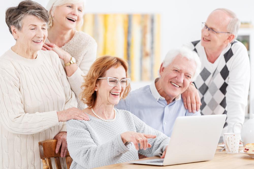 seniors watching movie