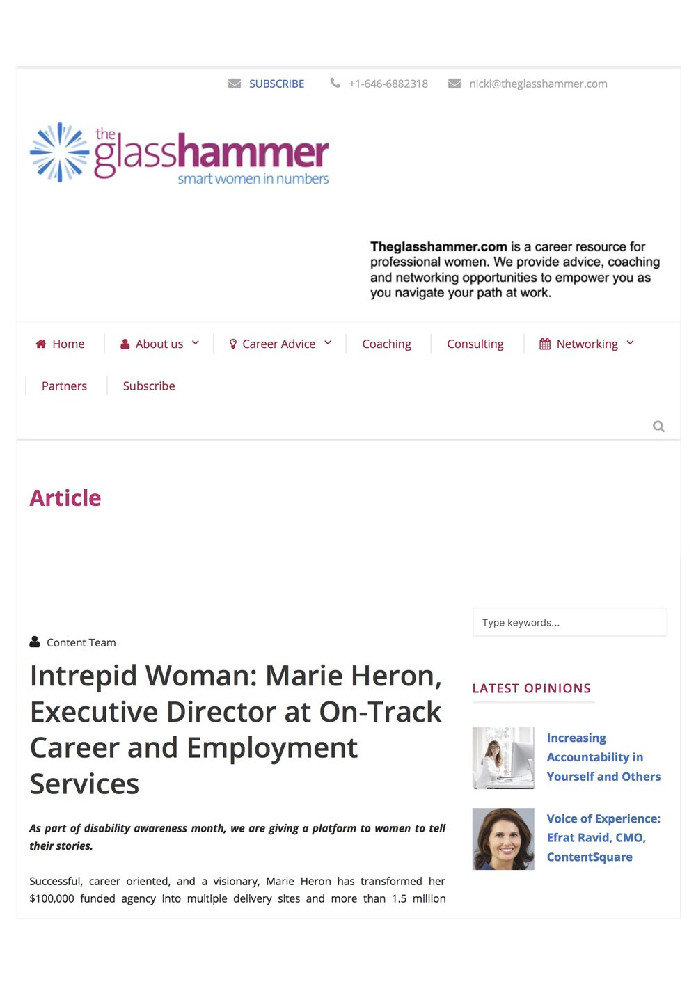 The Glass Hammer_Marie Heron, Executive Director at On-Track Career_Oct 2017.jpg