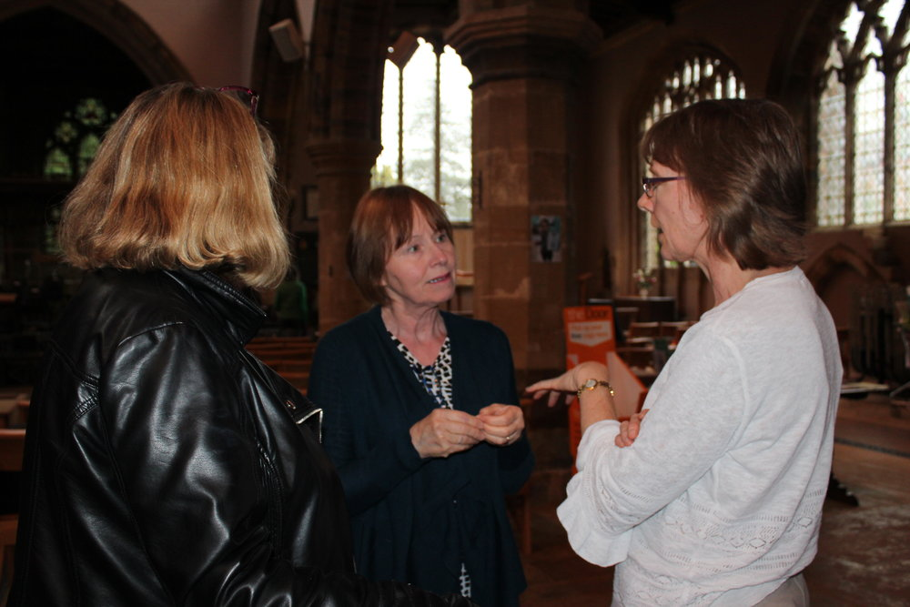 Lorraine, Liz and Sheila after setting up for performance in Deddington Church