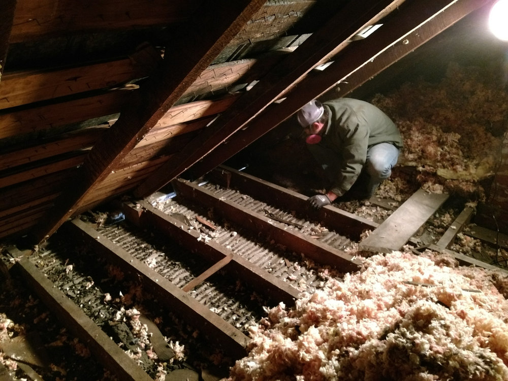 Clearing the insulation so we could lay down vapor barrier before gutting the ceiling.