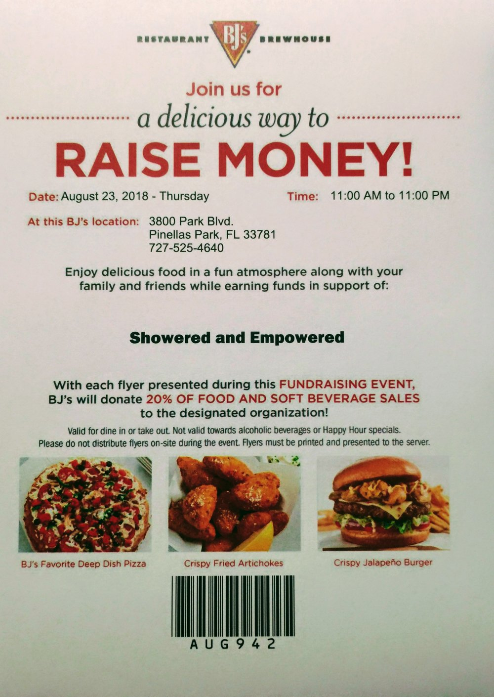 Please print flyer and bring with you to BJ's.
