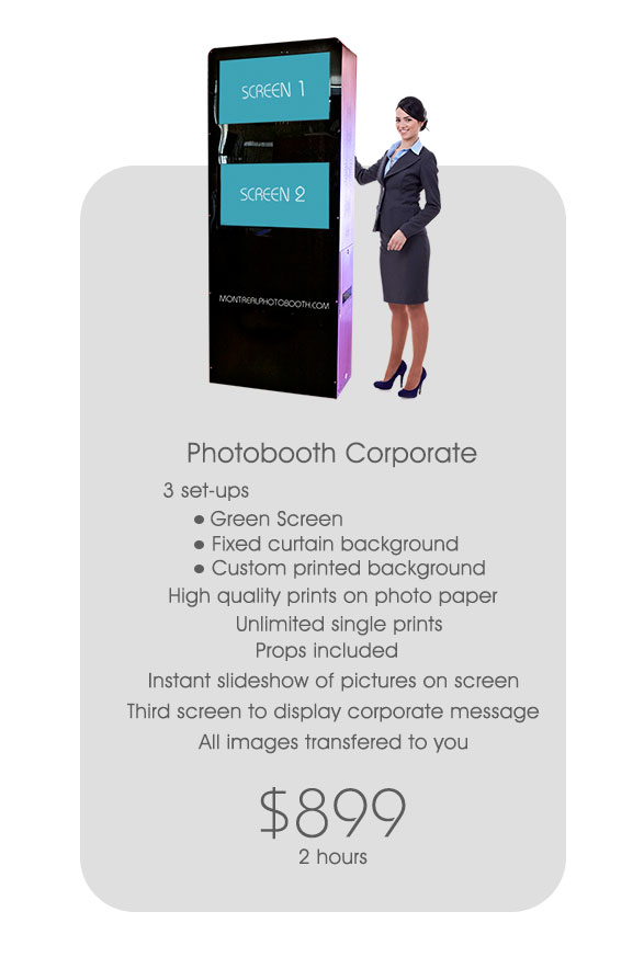 Business and Corporate photobooth - slick and elegant perfect for business events. Features multiple screens some of which can display company logos,  messages and videos.Comes in three options1) Fixed curtain background2) Green Screen3) Custom printed vinyl background with custom image and graphics