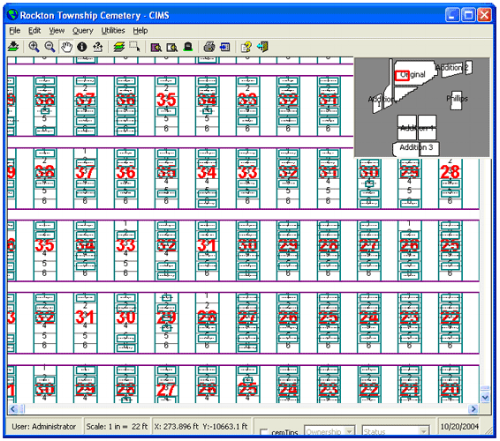 Screenshot of Rockton Township Cemetery through the CIMS software