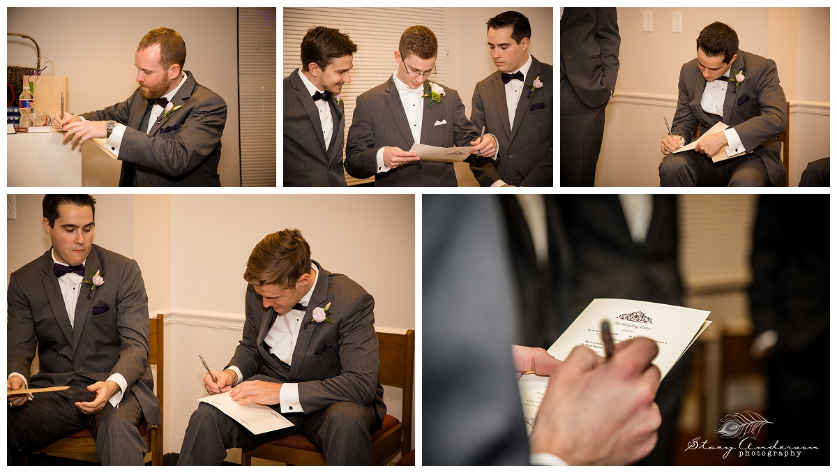 Before the ceremony, the guys were taking bets on what exact time the ceremony would actually start.