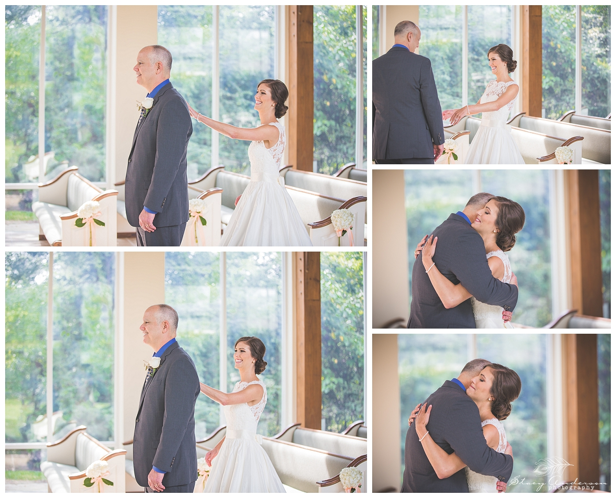 "I love the idea of having a ""first look"" with her dad. It was such a touching moment for a daddy to see his little girl for the first time on her wedding day!"