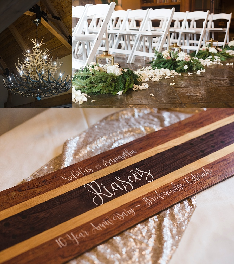 """How cool is this? Their """"guest book"""" was a snowboard they're going to hang in their home!"""