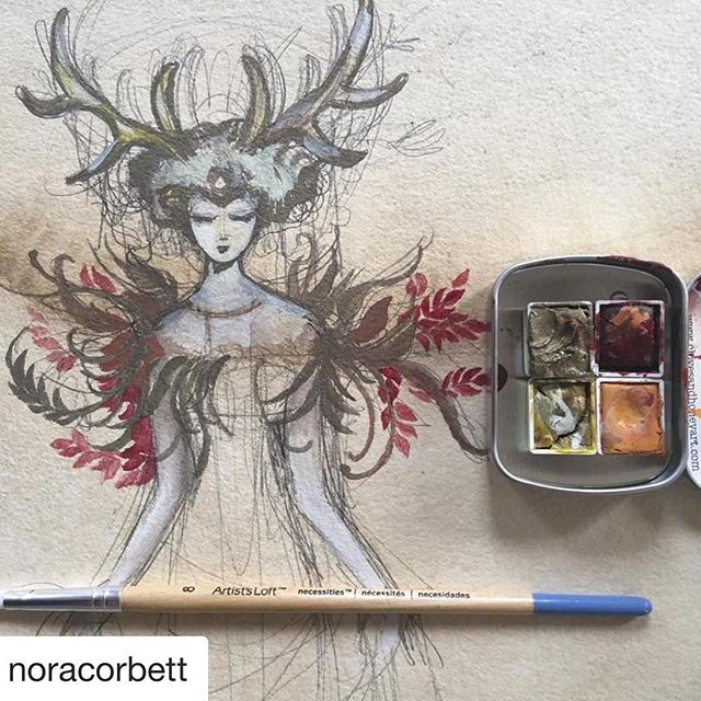 Check out this hauntingly beautiful work by @noracorbett using #clovesandhoneywatercolors 😍  #artisinalwatercolors #watercolorpaint #handmadewatercolor #handmadepaint #clovesandhoney #chemistry #colortheory #chemistryofcolor #clovesandhoneywatercolors