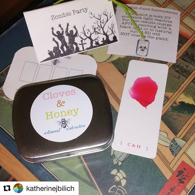Can't wait to see what folks make with these! #zombieparty #handmadewatercolor #handmadepaint #clovesandhoneywatercolors #Repost @katherinejbilich (@get_repost) ・・・ This limited edition is called Zombie Party. #clovesandhoneywatercolors